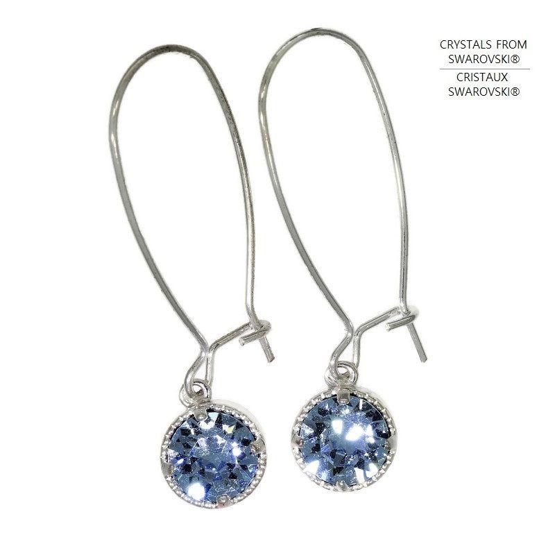 Visací náušnice s Tiffany modrým křišťálem Swarovski