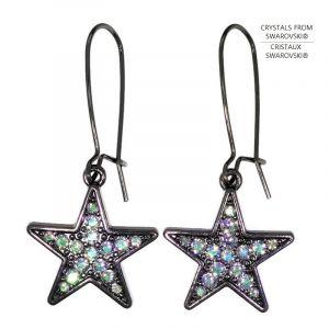 Visací náušnice Swarovski černé hvězdy s duhovými křišťály