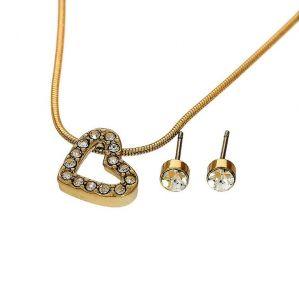 Sada náušnice a náhrdelník srdíčko a kamínky