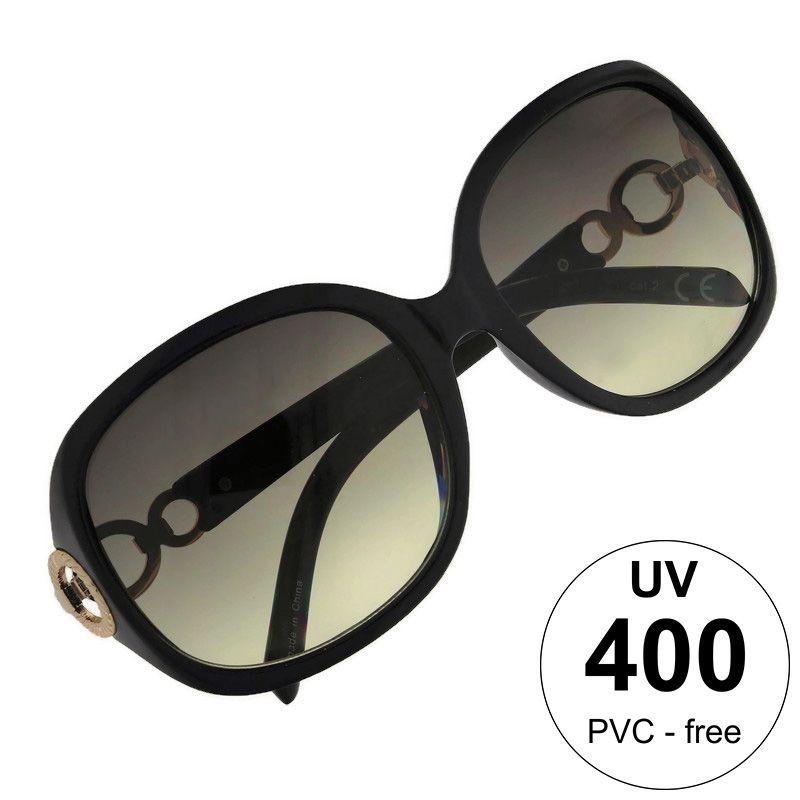Černé brýle se stříbrným detailem na stránicích