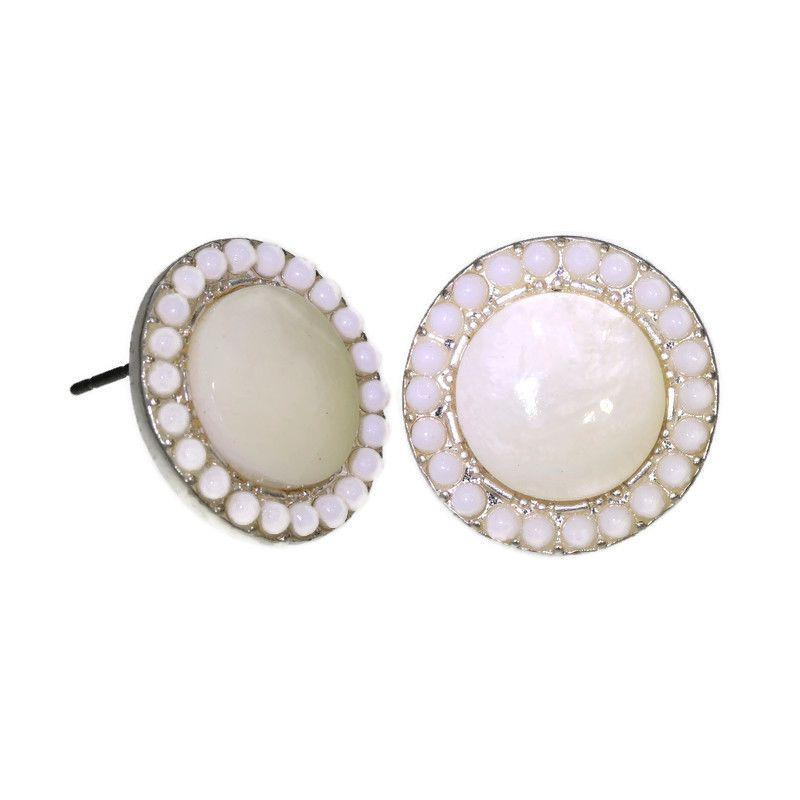 Náušnice kolečka s perletí bílé barvy