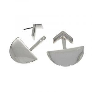 Stříbrné náušnice Půlkruh a šipka