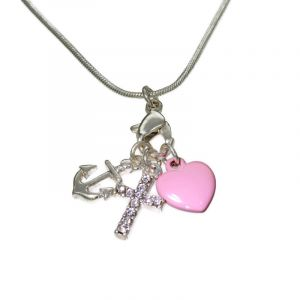 Růžový náhrdelník s přívěšky SRDCE, KOTVY, KŘÍŽKU 2