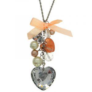 Růžový náhrdelník s velkým SRDCEM