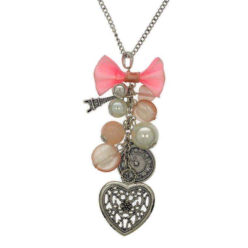 Růžový náhrdelník SRDCE, EIFFELOVKA