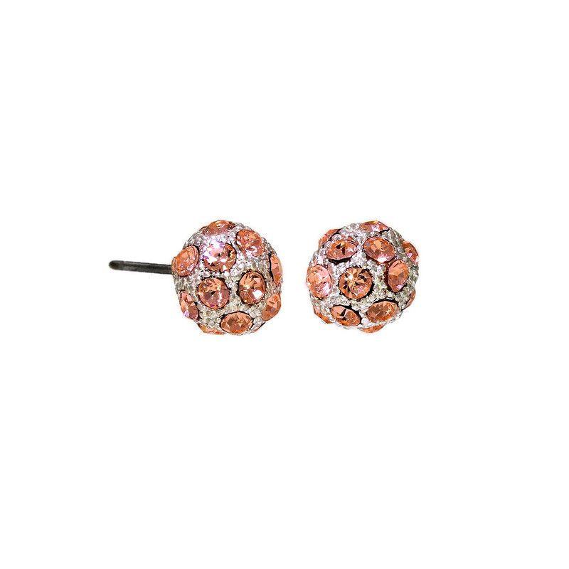 Stříbrné perličky s růžovými lesklými kamínky