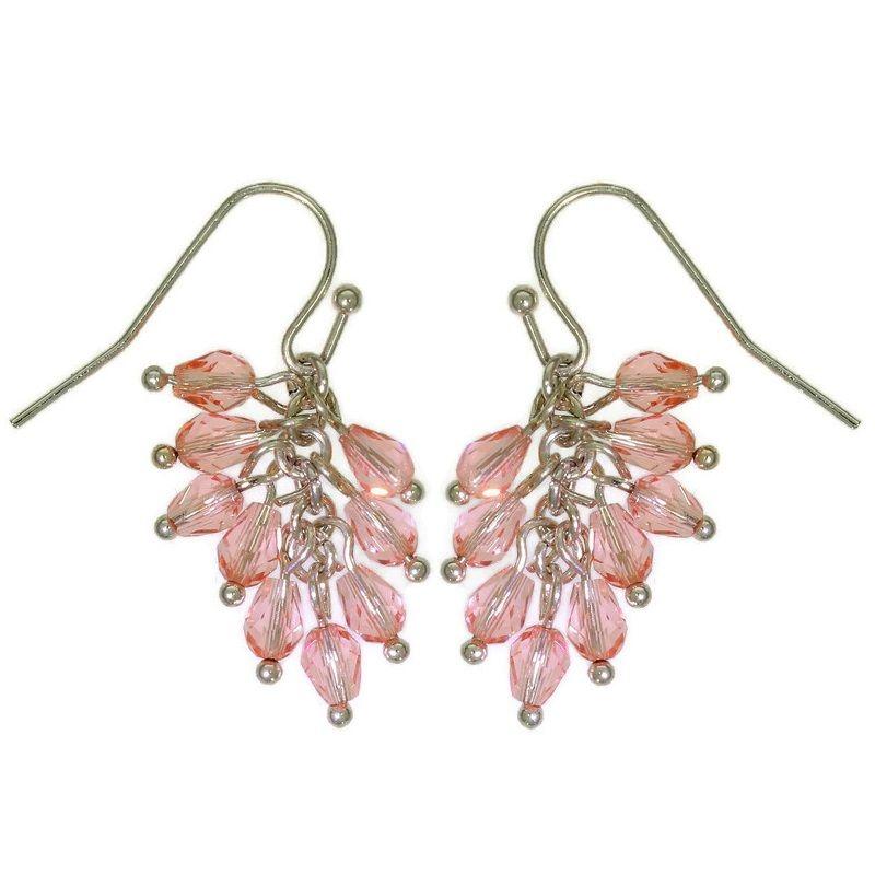 Visací náušničky s růžovými korálky