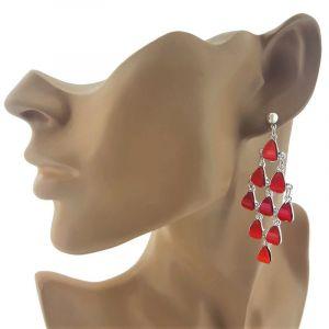 Visací náušnice s červenými kapičkami