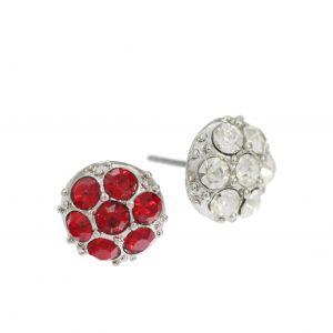 Červené a bílé kamínkové náušnice