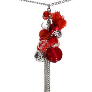 Náhrdelník hrozen s červenými korálky