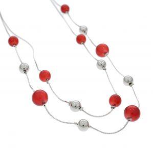 Náhrdelník s červenými kuličkami