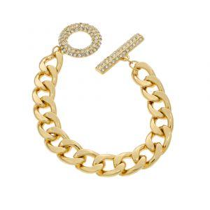 Náramek řetěz s kamínky zlaté barvy