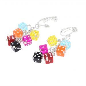 Náušnice barevné hrací kostky