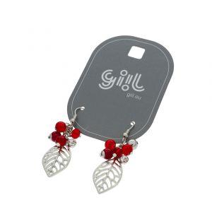 Náušnice Červený hrozen s lístkem GIIL