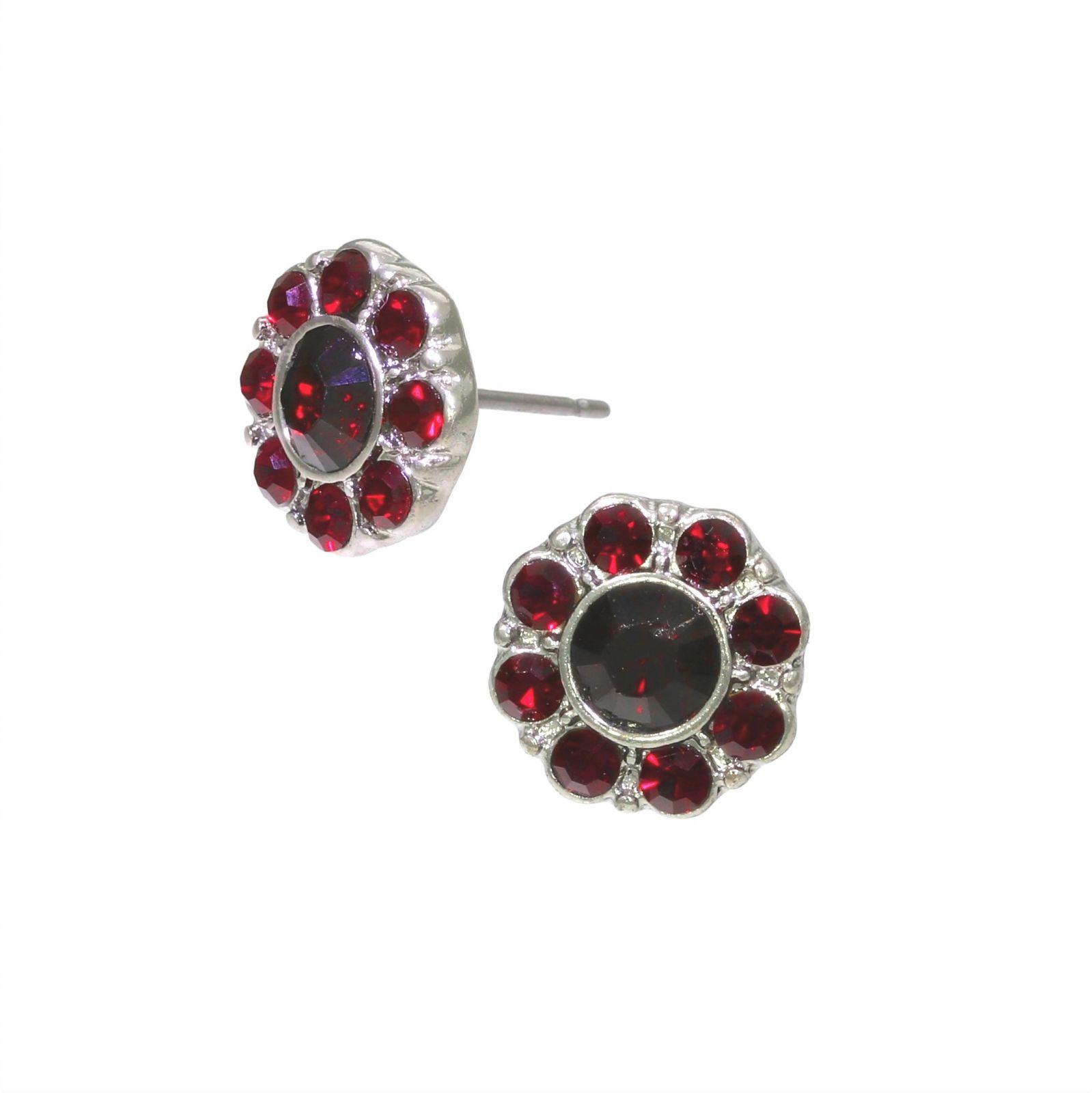 Náušnice kytičky z červených kamínků GIIL
