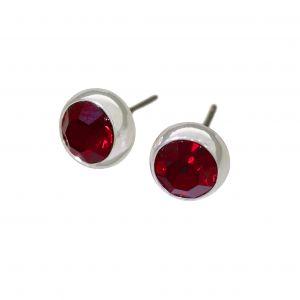 Náušnice pecky s červenými kamínky
