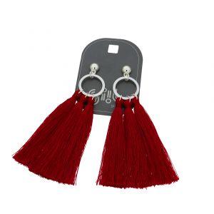 Náušnice s červenými střapci