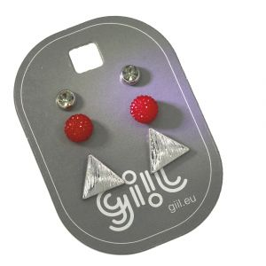 Sada tří peckových náušnic s trojúhelníkem GIIL