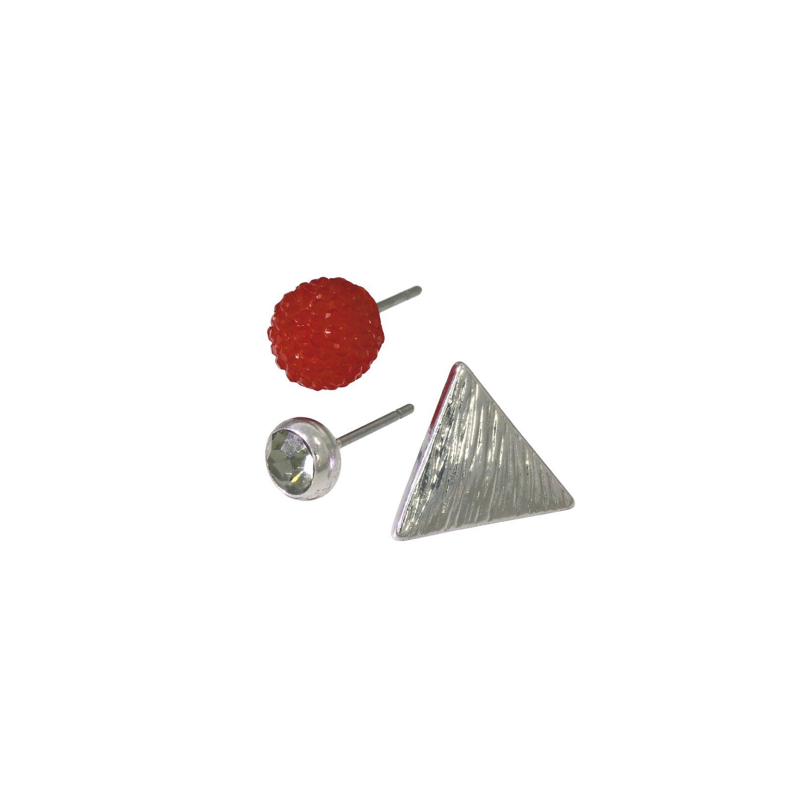 Sada tří peckových náušnic s trojúhelníkem