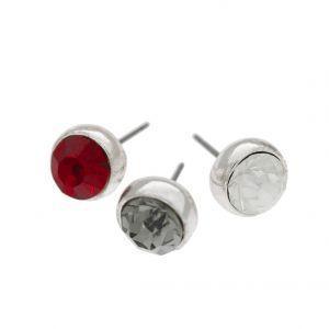 Šedé, bílé a červené kamínkové náušnice