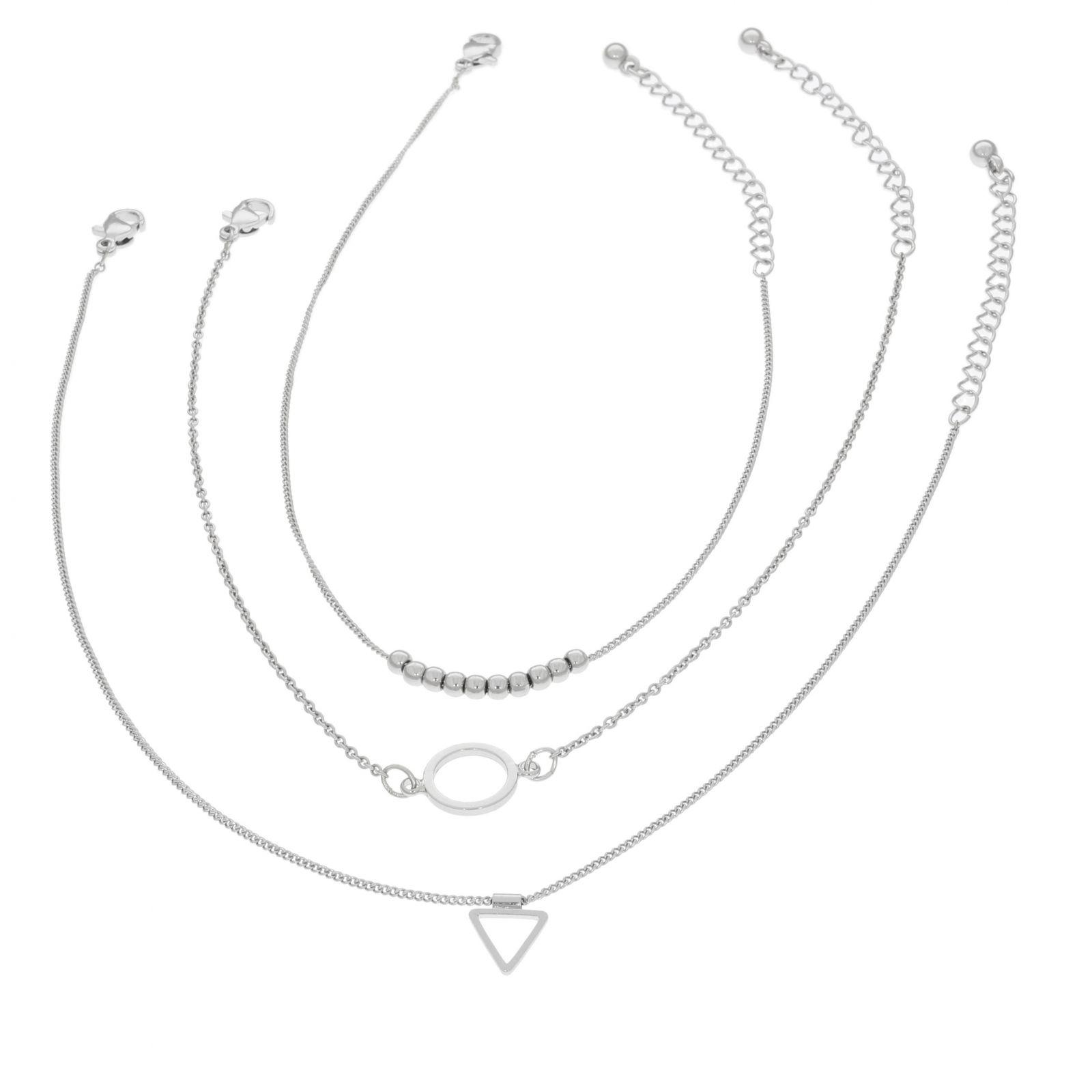 Trojice náramků na nohu s kruhem a trojúhelníkem