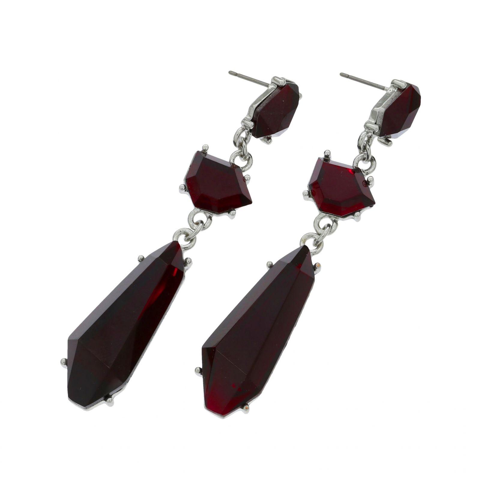 Visací náušnice s vínovými kameny