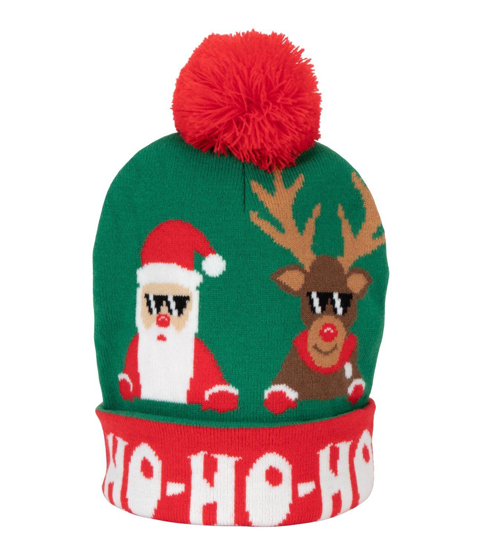 Vánoční čepice se Santa Clausem a sobem