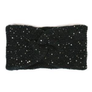 Černá pletená čelenka s flitry
