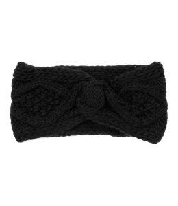 Černá pletená čelenka se vzorem
