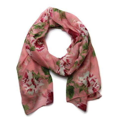 Jarní květovaný růžový šátek GIIL