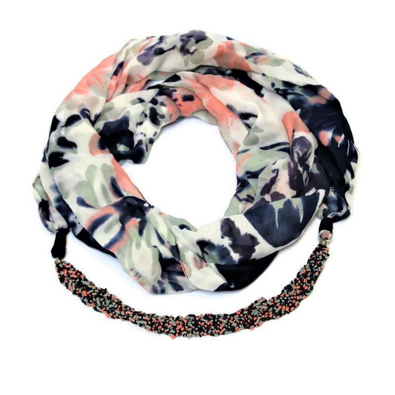 Modro-růžový kruhový šátek