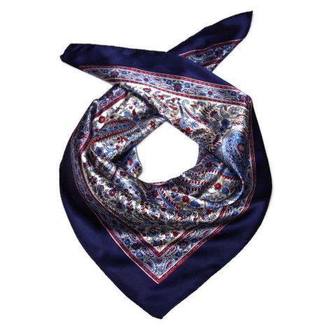 Modrý šátek s květinovým vzorem