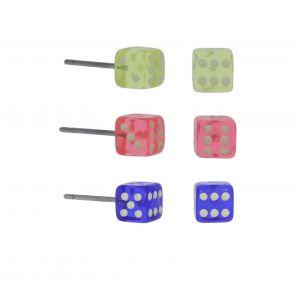 Náušnice v podobě barevných kostek