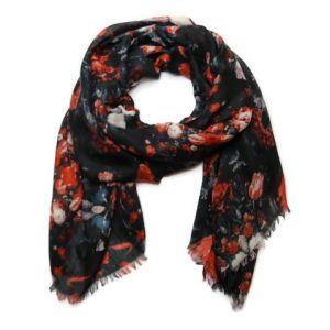 Černý šátek s květy