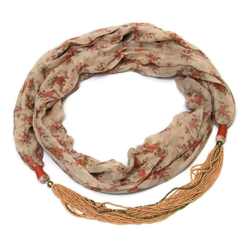 Starorůžový šátek s kvítky