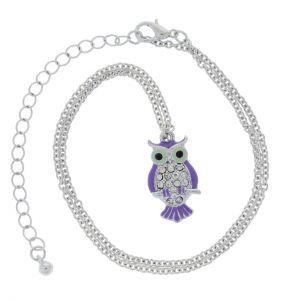 Stříbrný náhrdelník s fialovou sovičkou 2