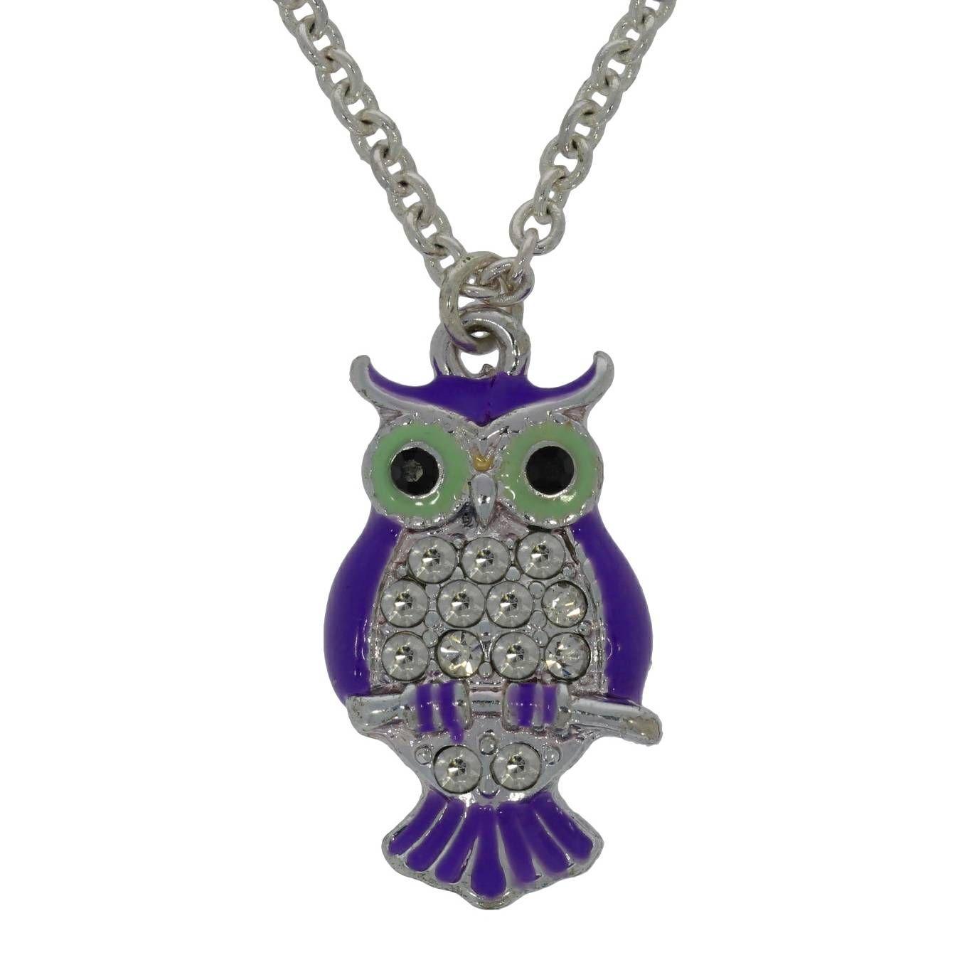Stříbrný náhrdelník s fialovou sovičkou 1