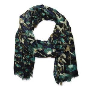 Tmavě modrý šátek s květinami