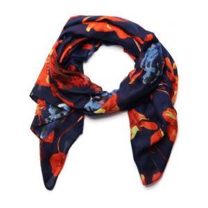 Tmavě modrý šátek s květy