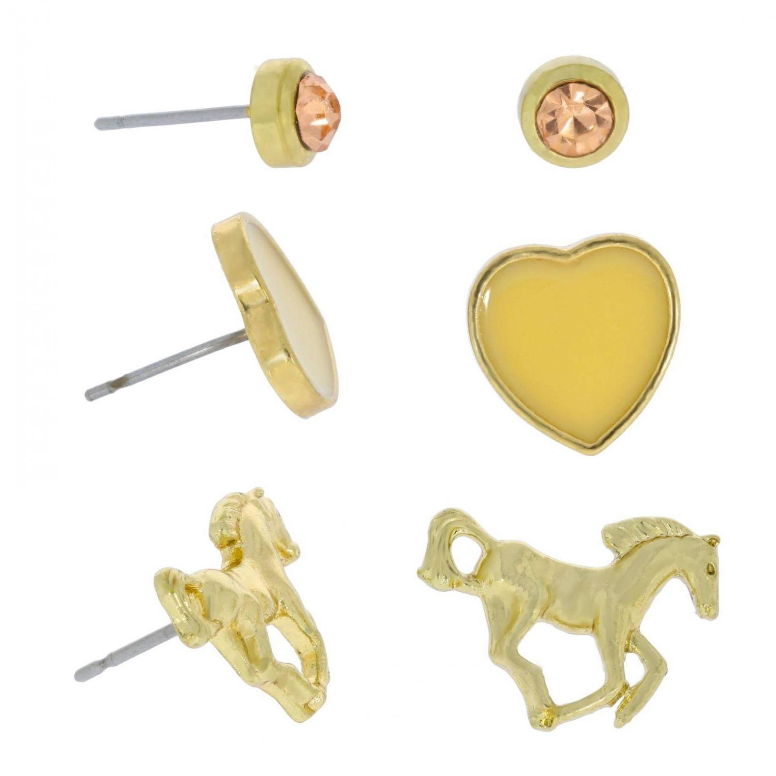 Zlaté náušnice koně, srdíčka a kamínky