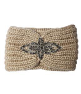 Pletená čelenka s kamínkovou aplikací