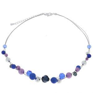 Náhrdelník s modrými a fialovými korálky