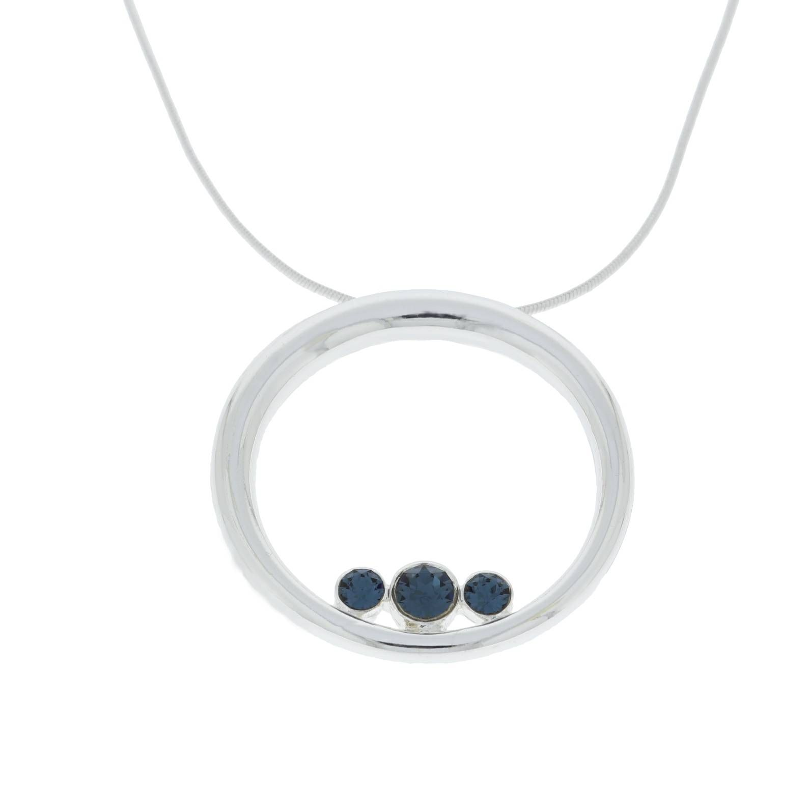 Řetízek s kruhem s modrými kamínky