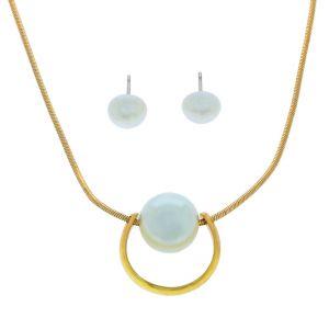 Set náušnic a řetízku s perlou