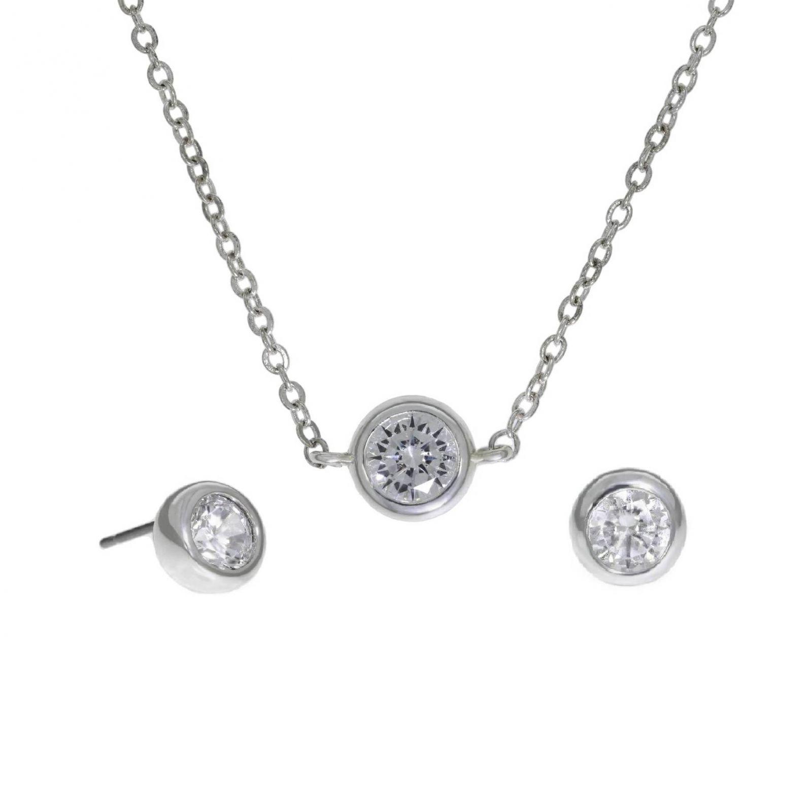 Set náušnic a řetízku se zirkony ve stříbrné barvě