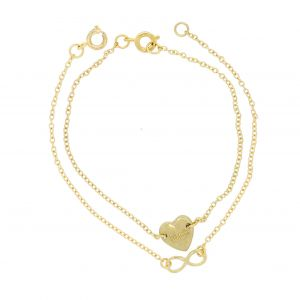 Zlaté řetízkové náramky s ozdobami ve tvaru srdíčka a nekonečna