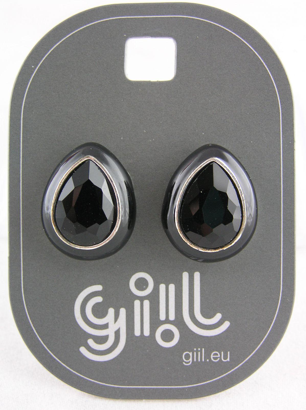 Peckové náušnice černo-stříbrná lesklá kapička GIIL