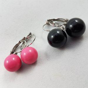Kuličkové náušnice v černé a růžové barvě