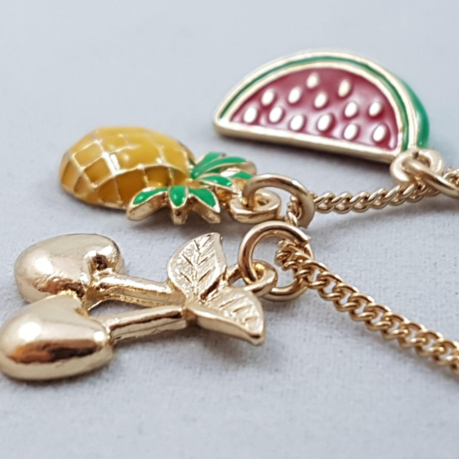 Náhrdelník Ananas, meloun a višně na zlatém řetízku
