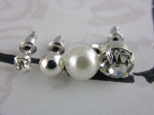 Náušnice Perličky lesklé stříbrné